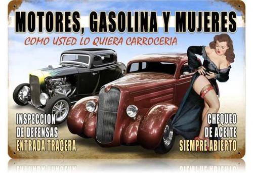 Vintage-Retro Motors y Mujeres Metal-Tin Sign