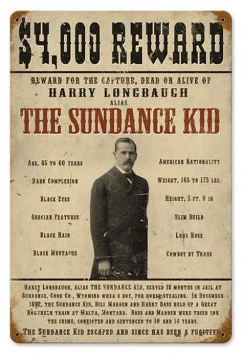 Vintage-Retro Sundance Kid Metal-Tin Sign