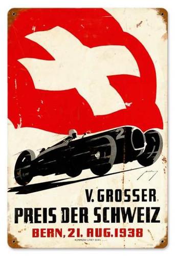 Vintage-Retro Swiss Race Car Metal-Tin Sign