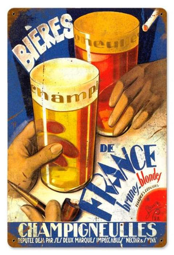 Vintage-Retro Beers of France Metal-Tin Sign