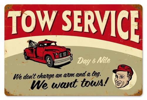 Vintage-Retro Tow Service Metal-Tin Sign LARGE