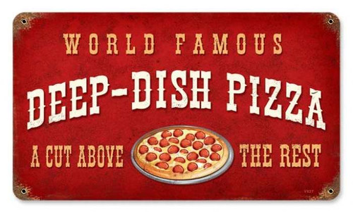 Vintage-Retro Deep Dish Pizza Metal-Tin Sign V927