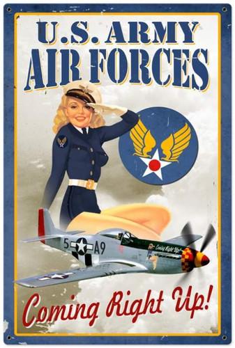 Vintage-Retro Air Force Pinup - Pin-Up Girl Metal Sign -
