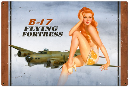 Vintage-Retro B-17 Redhead - Pin-Up Girl Metal Sign -  LARGE