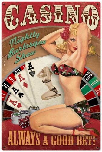 Vintage-Retro Casino Pinup - Pin-Up Girl Metal Sign -  LARGE