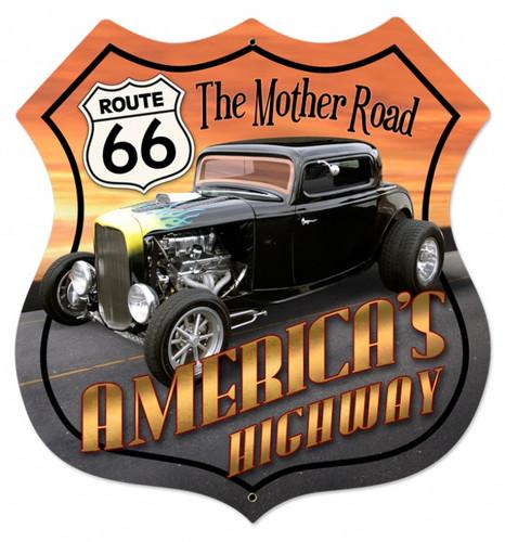 Vintage-Retro Route 66 Hot Rod Shield Metal-Tin Sign