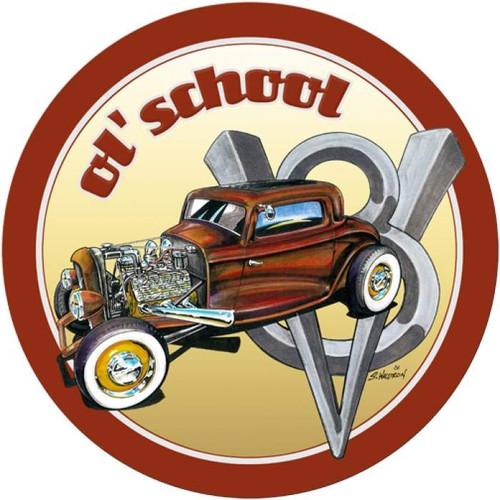 Vintage-Retro Ol' School Round Metal-Tin Sign