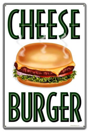 Vintage-Retro Cheese Burger Metal-Tin Sign LARGE
