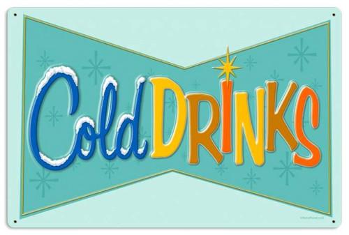 Vintage-Retro Cold Drinks Metal-Tin Sign LARGE