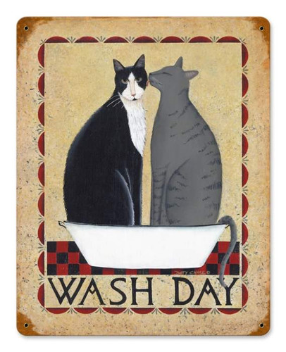 Vintage-Retro Wash Day Cats Metal-Tin Sign
