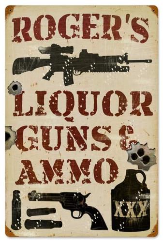 Vintage-Retro Liquor Guns and Ammo Metal-Tin Sign - Personalized