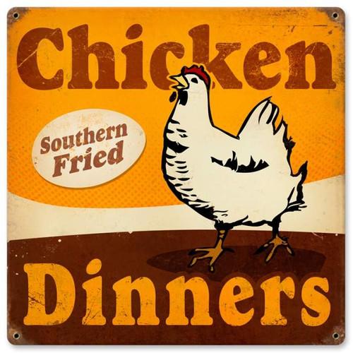 Vintage-Retro Chicken Dinners Metal-Tin Sign
