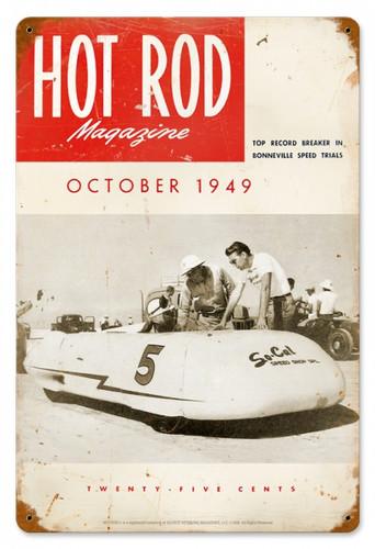 Vintage-Retro Hot Rod Magazine October 1949 Cover Metal-Tin Sign