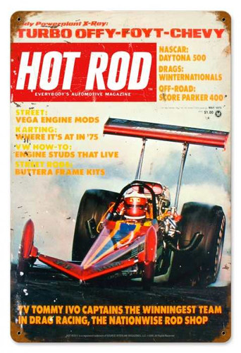 Vintage-Retro Hot Rod Magazine May 1975 Cover Metal-Tin Sign
