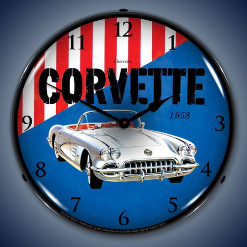 Vintage-Retro  1958 Corvette Lighted Wall Clock