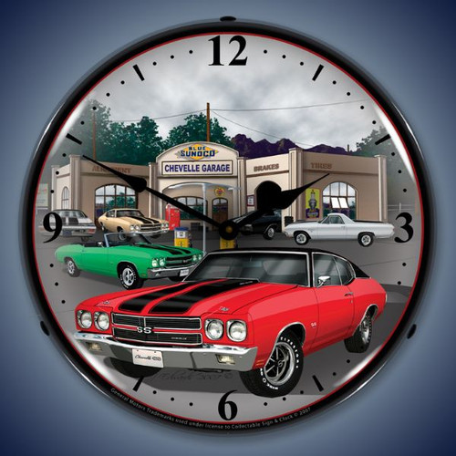 Vintage-Retro  1970 Chevelle Lighted Wall Clock