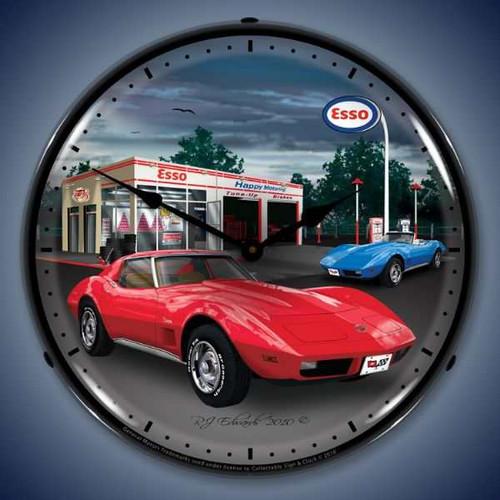 Vintage-Retro  1974 Corvette Lighted Wall Clock