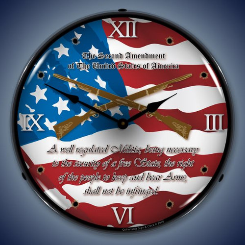 2nd Amendment Lighted Wall Clock