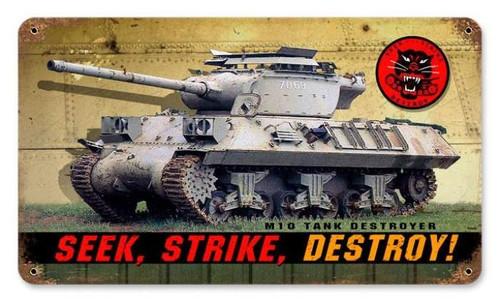 Vintage-Retro Seek Strike Destroy Metal-Tin Sign