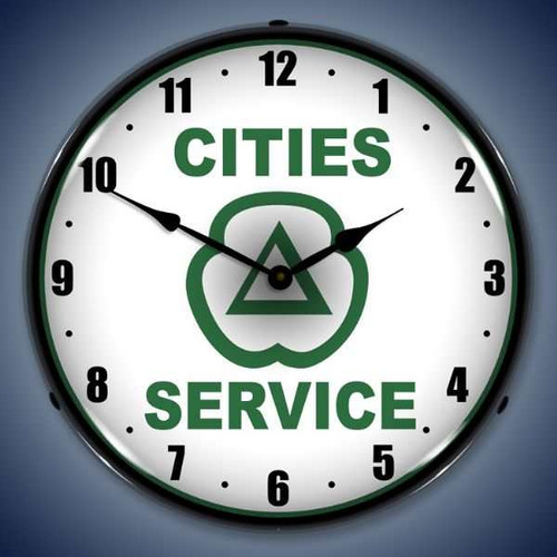 Vintage-Retro  Cities Services Lighted Wall Clock