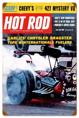 Vintage-Retro Hot Rod Magazine Garlits May 1963 Metal-Tin Sign