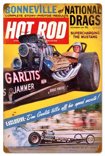 Vintage-Retro Hot Rod Magazine Garlits November 1964 Metal-Tin Sign