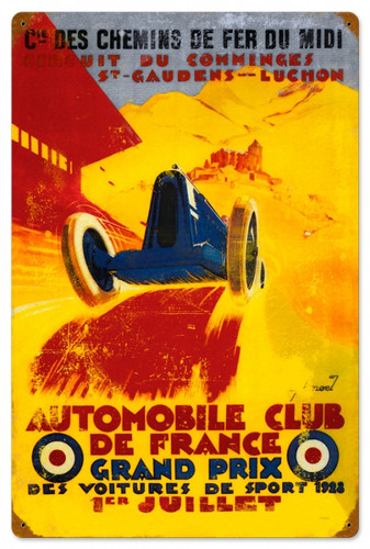 Vintage-Retro France Grand Prix Metal-Tin Sign 16 x 24 Inches