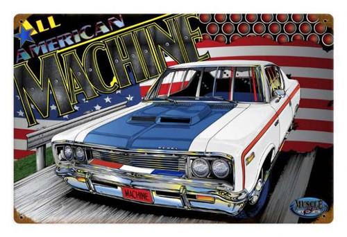 Retro All American Machine Tin Sign