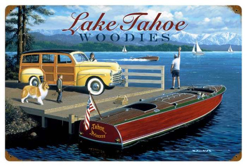 Retro Lake Tahoe Woodies 24 x 16 Inches Tin Sign