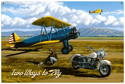 Vintage Two Ways to Fly 36 x 24 Inches Metal Sign