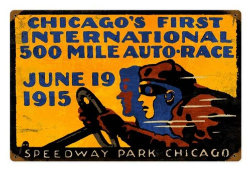 Retro Tin Sign Chicago 500 18 x 12 Inches