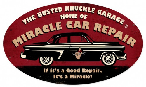 Vintage  Miracle Repair Tin Sign