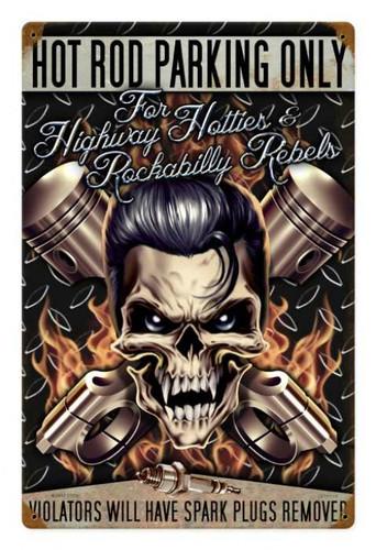 Retro Hot Rod Parking Metal Sign