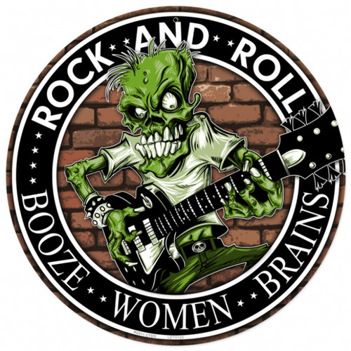 Retro Rock n Roll Round Tin Sign