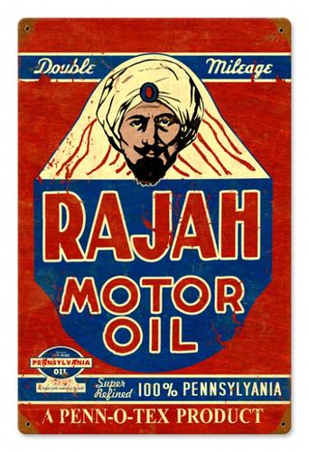 Vintage Rajah Motor Oil 12 x 18 inches Tin Sign