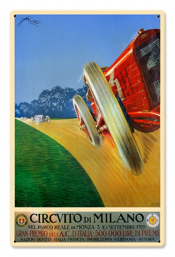 Vintage Milan Grand Prix 12 x 18 inches Tin Sign