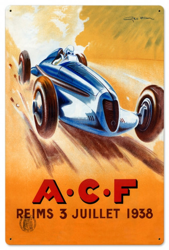 Vintage ACF Reims 24 x 16 inches Tin Sign