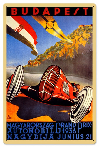 Vintage Budapest Grand Prix 24 x 16 inches  Tin Sign