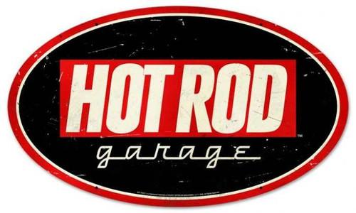 Vintage-Retro Hot Rod Garage Oval Metal-Tin Sign