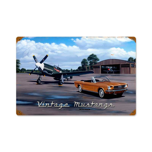 Retro Vintage Mustangs Metal Sign 18 x 12 Inches Inches