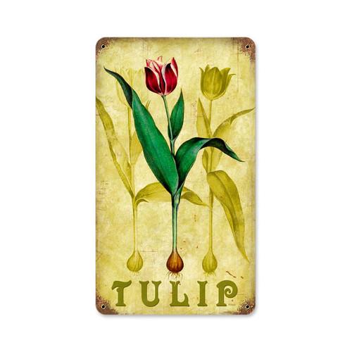 Retro Tulip Tin Sign  8 x 14 Inches