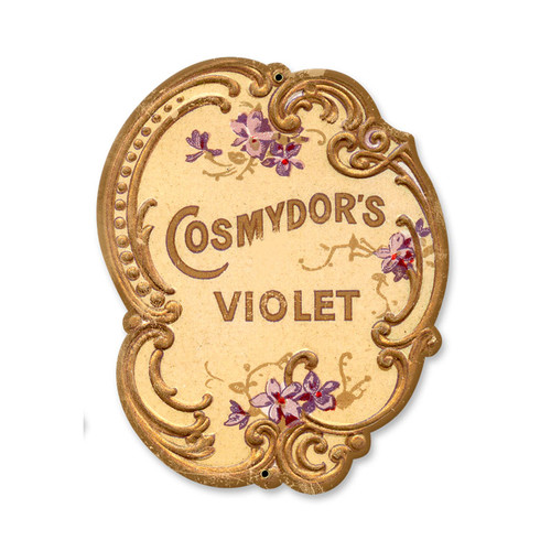 Vintage Cosmydors Violet Tin Sign 9 x 11 Inches
