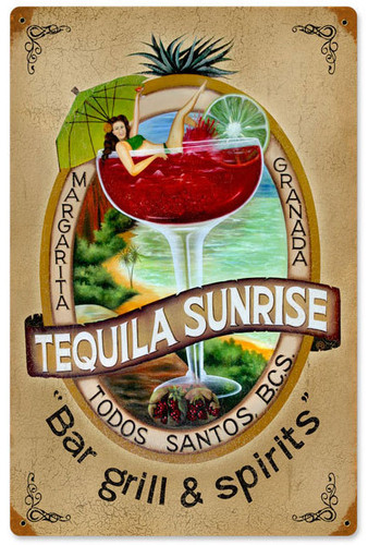 Vintage Tequila Bar Tin Sign 12 x 18 Inches