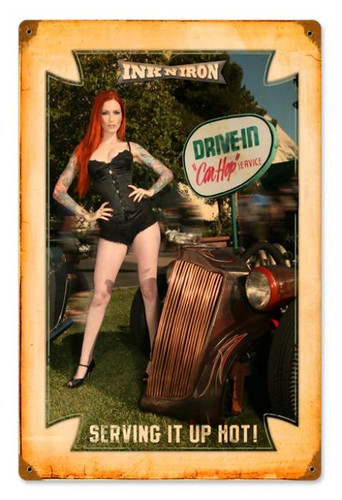 Vintage-Retro Drive In Car Hop - Pin-Up Girl Metal Sign -