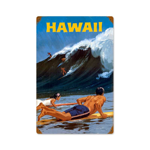 Retro Hawaii Wave Tin Sign 12 x 18 Inches