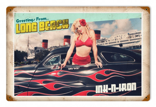 Vintage-Retro Greetings From Long Beach - Pin-Up Girl Metal Sign -