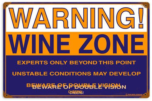 Retro Wine Zone Metal Sign  18 x 12 Inches