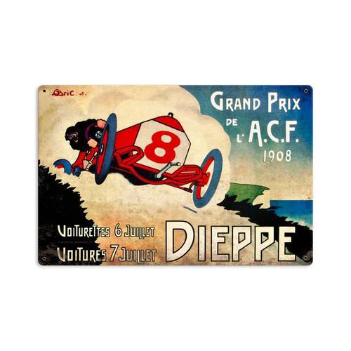 Retro Dieppe Grand Prix Metal Sign  18 x 12 Inches