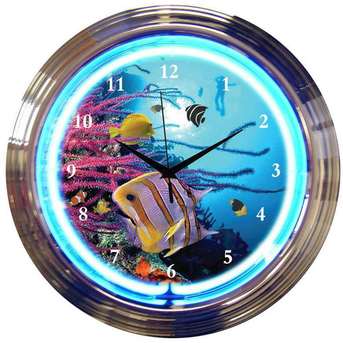 Retro AQUARIUM NEON CLOCK  15 x 15 Inches