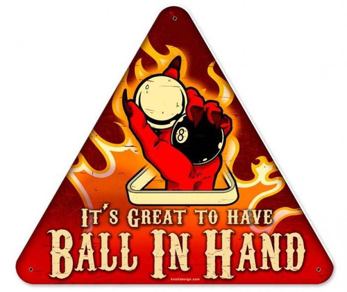 Vintage-Retro Ball In Hand Triangle Metal-Tin Sign